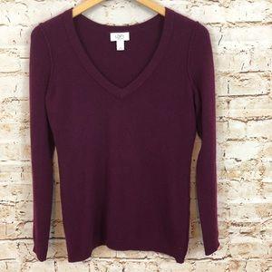 Ann Taylor LOFT 100% cashmere sweater purple vneck